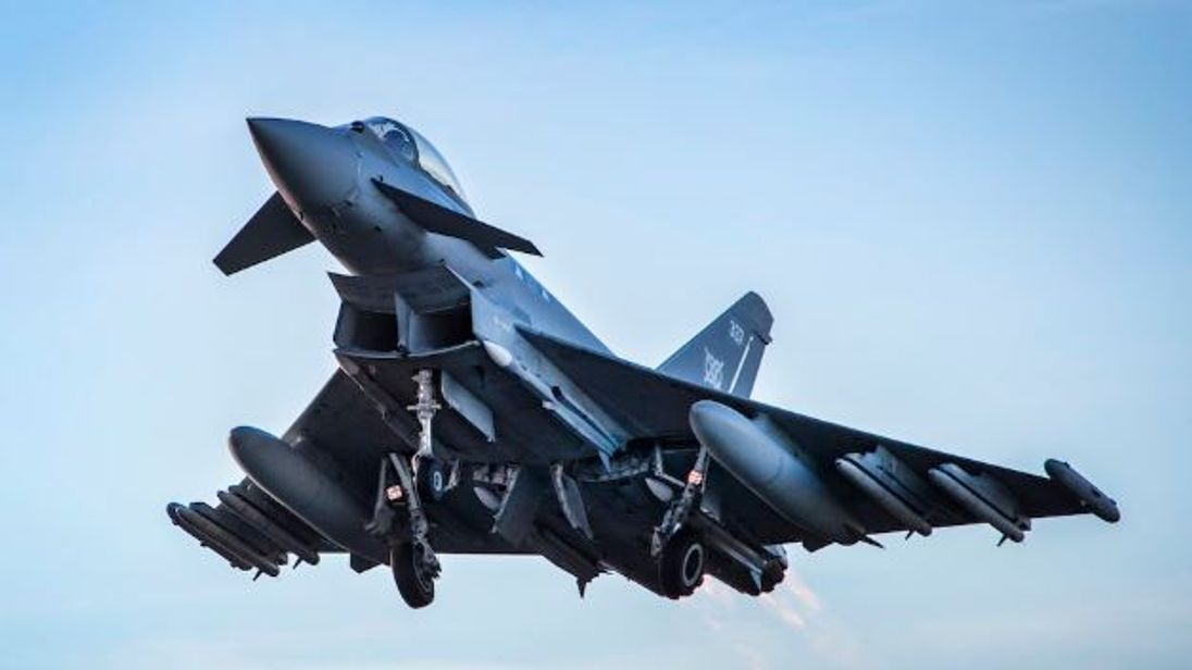 An RAF Typhoon equipped with Meteor missiles takes off from RAF Lossiemouth. Pic: MOD