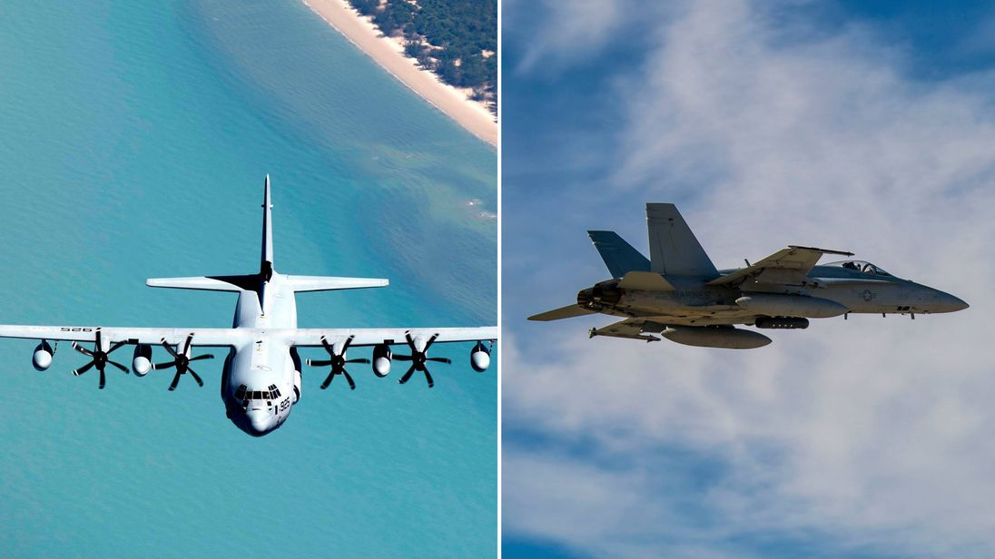 The crash involved an F/A-18 fighter jet (right) and a KC-130 tanker aircraft
