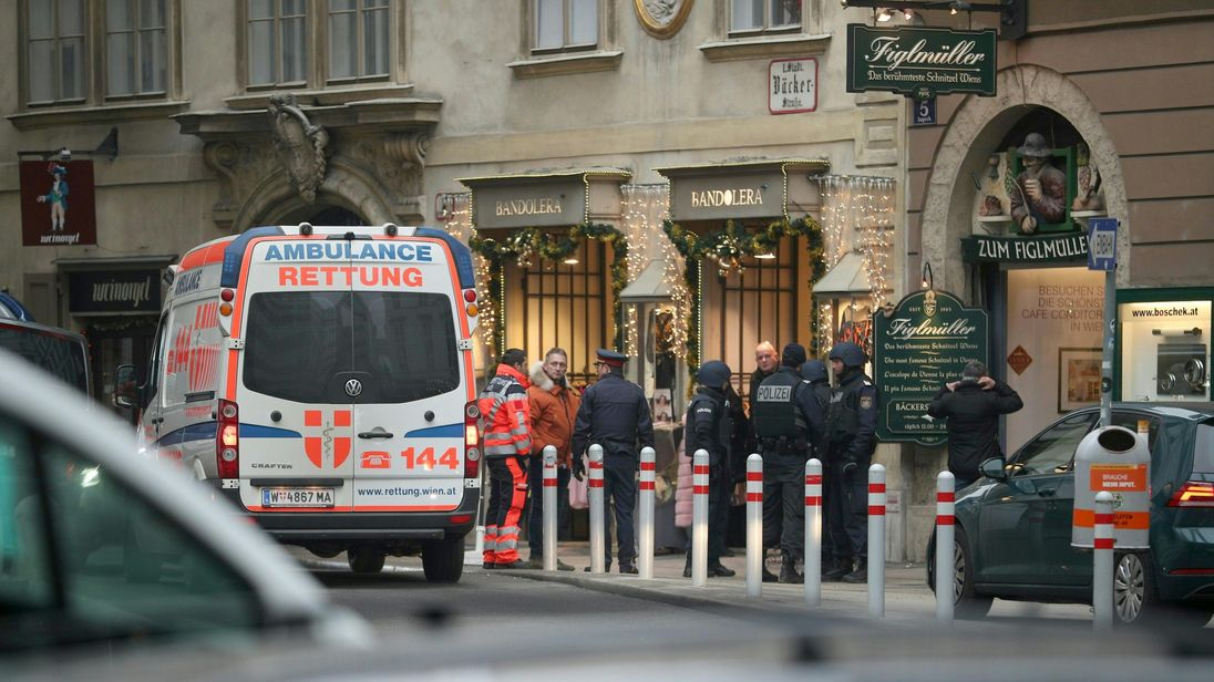 Emergency services descended on the scene in Vienna