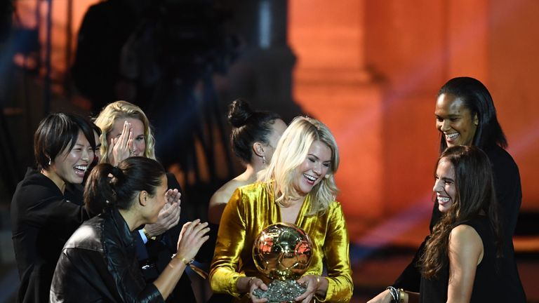 Ada Hegerberg was asked if she knew how to twerk as she collected her award at the ceremony in Paris