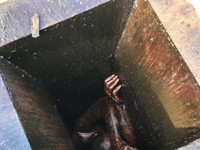 The man was stuck in the pipe for two days. Pic: Alameda County Sheriff's Office
