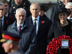Former British Prime Ministers Gordon Brown, Tony Blair and John Major, and Prime Minister Theresa May and opposition Labour party leader Jeremy Corbyn attend a National Service of Remembrance, on Remembrance Sunday, at The Cenotaph in Westminster, London, Britain, November 11, 2018