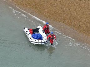Sky News footage shows a boat being picked up at the Kent coast as more migrants brave the Channel crossing 27/12/2018