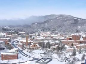 An aerial view shows snow over the Appalachian State University in Boone, North Carolina. Pic: Nelson Aerial Productions