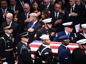 Presidents past and present pay attend the funeral of George HW Bush