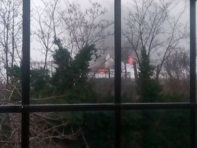 Fire can be seen coming from the zoo. Pic: FYJJoinery