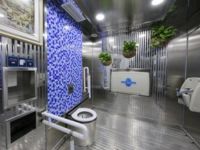 This public toilet in Zhengzhou has a self-clean system which auto-disinfects the toilet seat before each use