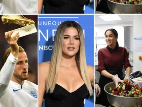(L-R) Harry Kane of the England football team, Khloe Kardashian and Meghan, Duchess of Sussex