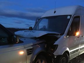 The van skidded on ice. Pic: Louise Thomson/Facebook