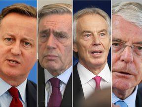 Former prime ministers (L-R): David Cameron, Gordon Brown, Tony Blair and John Major