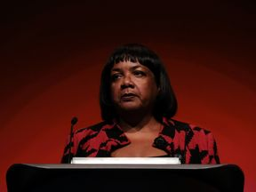LIVERPOOL, ENGLAND - SEPTEMBER 25: Diane Abbott, Shadow Home Secretary delivers her speech on day three of the Labour Party Conference on September 25, 2018 in Liverpool, England. The four-day annual Labour Party Conference takes place at the Arena and Convention Centre in Liverpool and is expected to attract thousands of delegates and features keynote speeches from party politicians and over 450 fringe events. (Photo by Ian Forsyth/Getty Images)