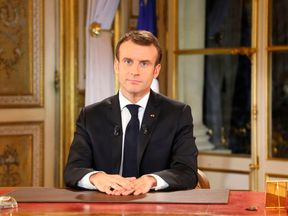 Emmanuel Macron speaks during a special address to the nation