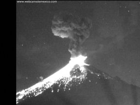 The volcano erupted twice in one hour