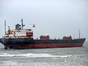 Russian ship aground at Falmouth. Pic: Colin Higgs/Apex