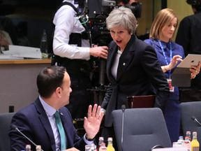 Theresa May and Leo Varadkar spoke at the EU leaders summit in Brussels