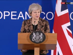 Theresa May was speaking at a meeting of the European Council
