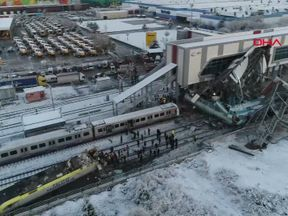 The high-speed train crashed into a maintenance locomotive