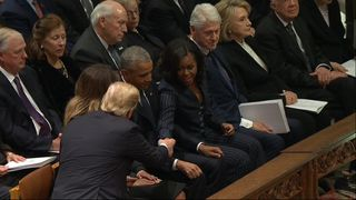 The Trumps, Obamas, Clintons and Carters make up the front row at the funeral of George H W Bush