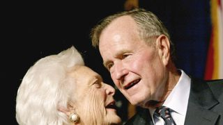 George H W Bush with his wife Barbara in 2002