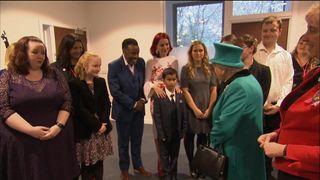 Kid crawls away after meeting the Queen