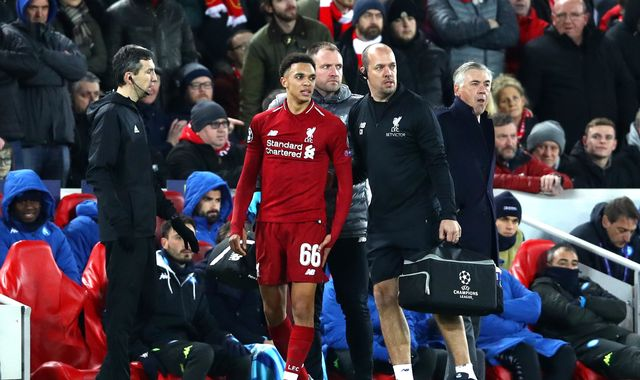 Liverpool's Trent Alexander-Arnold faces two weeks out with knee injury