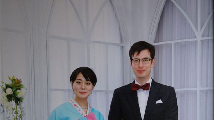Alek and his wife, Yuka, on their wedding day in Pyongyang. Pic: Alek Sigley