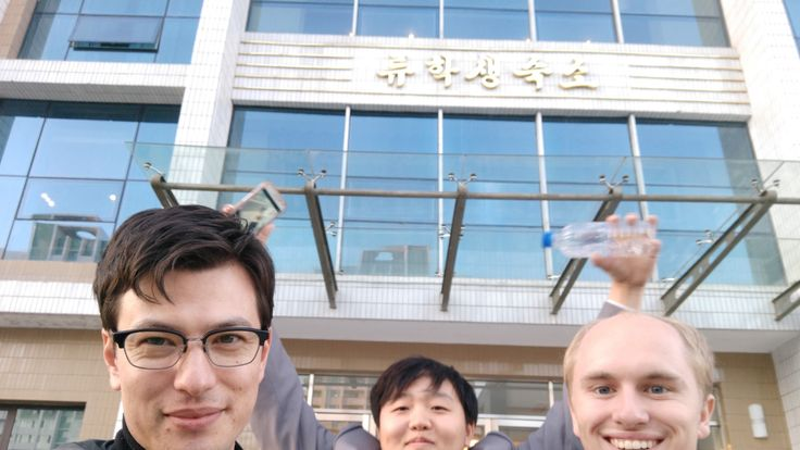 Alek (l) with foreign students Howard (middle) and Erik (r). Pic: Alek Sigley
