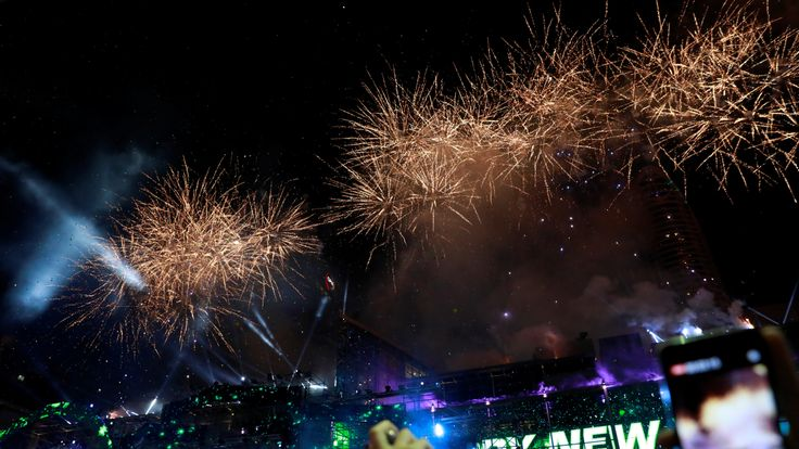 Fireworks light up the sky above Bangkok in Thailand