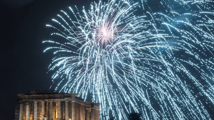 Fireworks explode over the ancient Parthenon temple atop the Acropolis hill during New Year's day celebrations in Athens, Greece, January 1, 2019