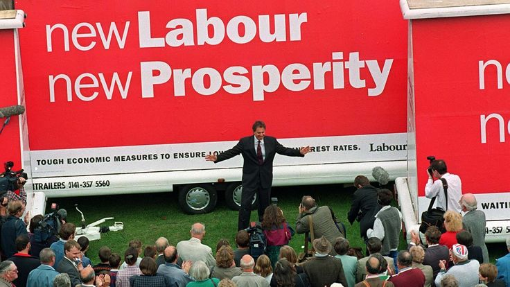 Centre stage of New Labour as Party Leader Tony Blair