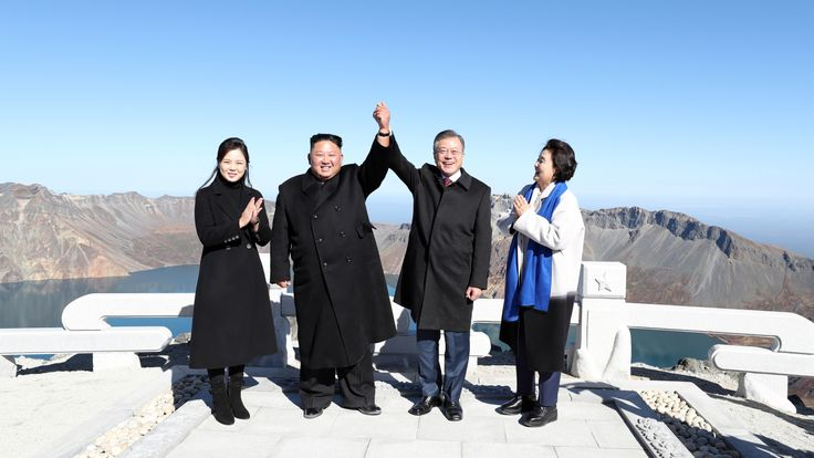 Kim Jong Un and Moon Jae-in with their wives in September at the summit of the Paektu Mountains