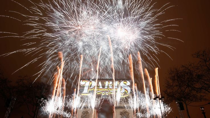 Fireworks are seen at the Arc de Triomphe during New Year's celebrations in Paris, France, January 1, 2019