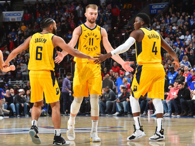 Domantas Sabonis celebrates with team-mates Cory Joseph and Victor Oladipo