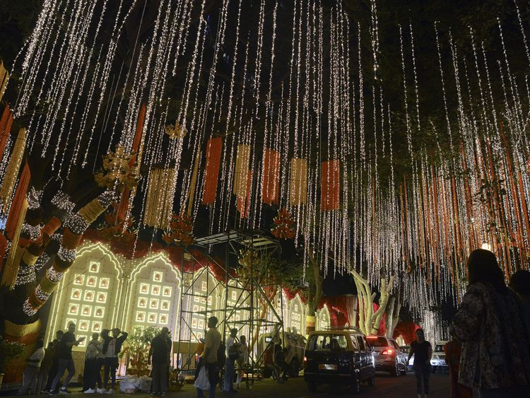 Lights have gone up at the Ambanis billion-dollar home in Mumbai