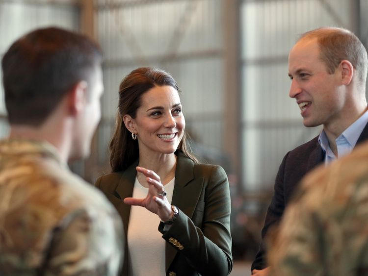 The Duke and Duchess of Cambridge meet members of 31 SQN and other operational personnel in a hangar at RAF Akrotiri