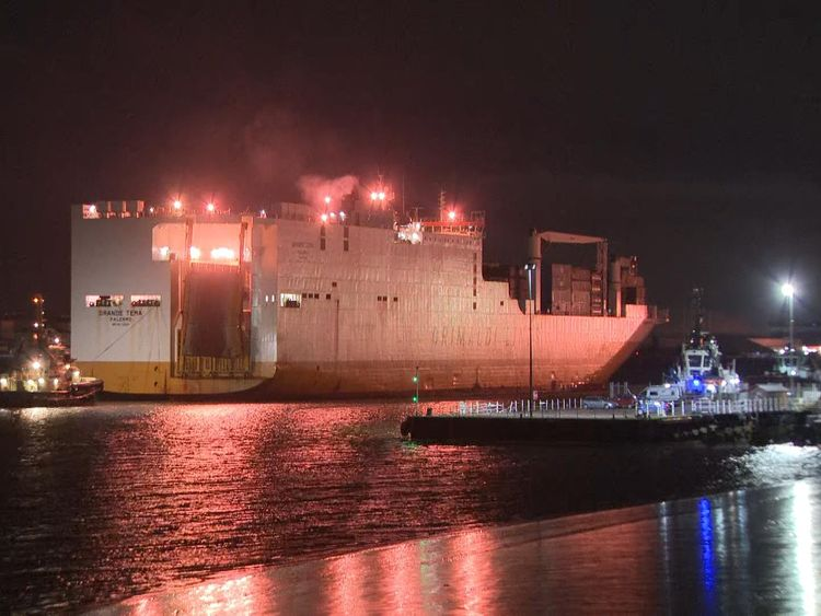 The ship docked in the Port of Tilbury in the early hours of Saturday