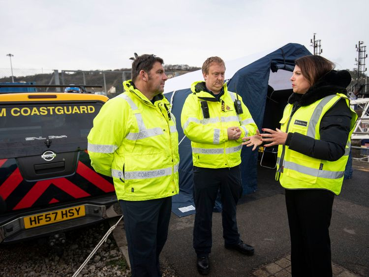 Immigration Minister Caroline Nokes speaks to HM Coastguard staff in Dover
