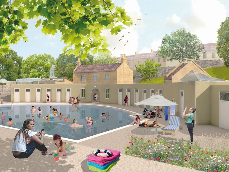 An artist impression of the restored baths