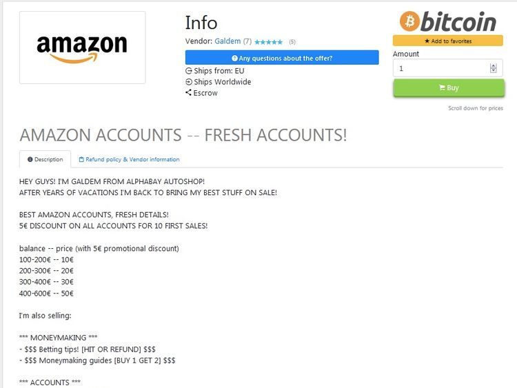 Amazon accounts for sail on the dark web. Pic: Digital Shadows