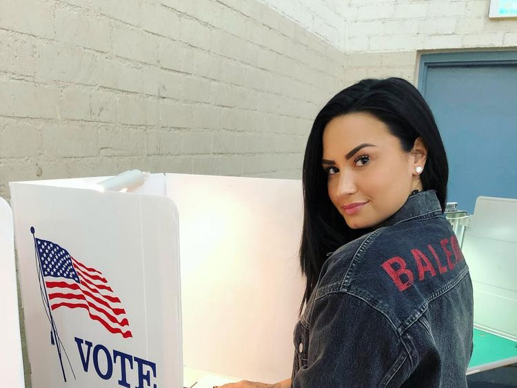 The singer broke her social media silence with a picture of her voting in the US midterms