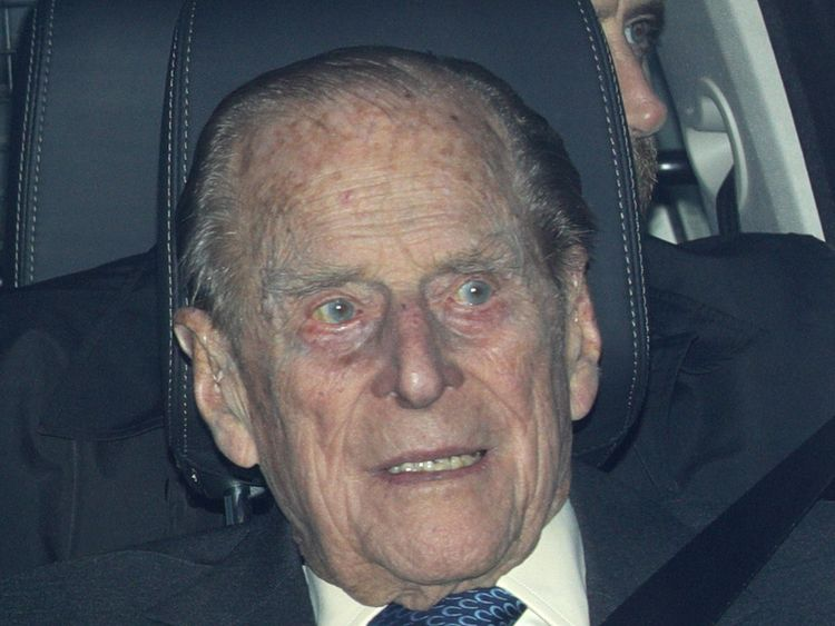 The Duke of Edinburgh leaving the Queen's Christmas lunch at Buckingham Palace