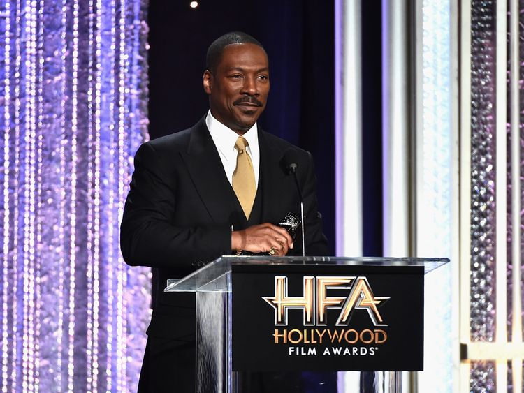 "Actor Eddie Murphy, recipient of the ""Hollywood Career Achievement Award"", speaks onstage during the 20th Annual Hollywood Film Awards on November 6, 2016 in Beverly Hills, California. (Photo by Alberto E. Rodriguez/Getty Images)"