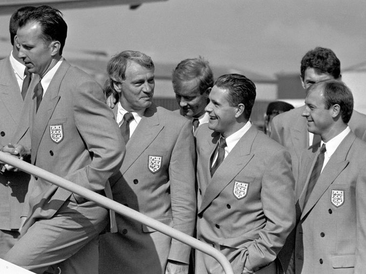 File photo dated 25/05/1990 of England manager Bobby Robson with Paul Gascoigne and other members of the squad leaving Luton to fly to Italy for the World Cup
