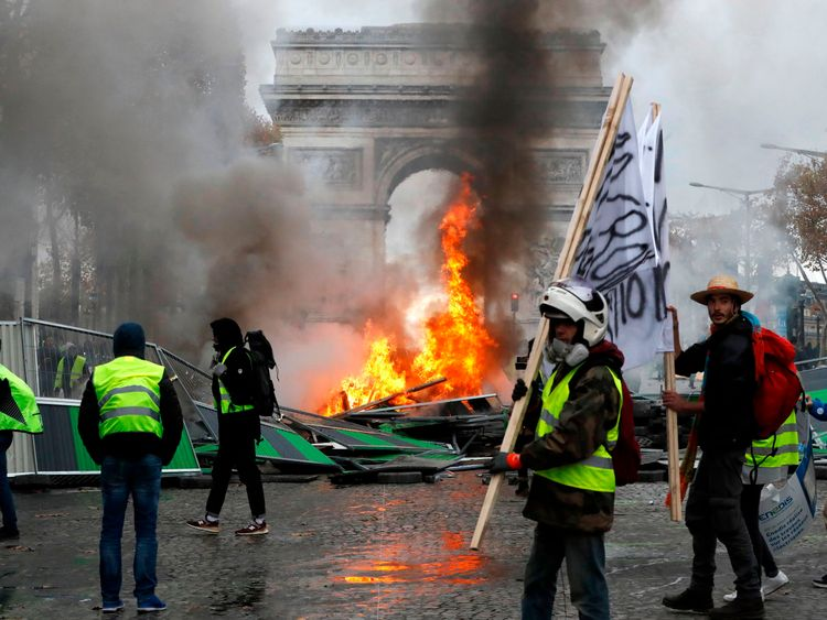 Roads leading to the famous Arc de Triomphe were closed