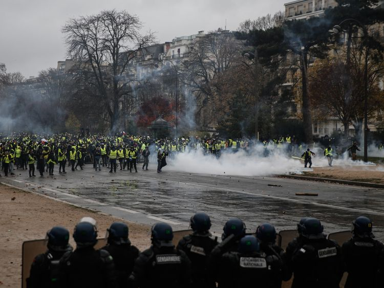Protesters face riot police in Paris on 1 December