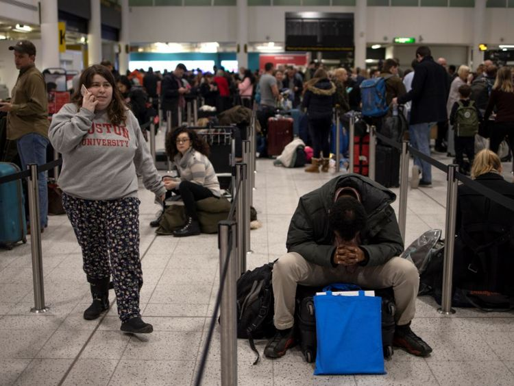 Passengers stranded at Gatwick amid the drone disruption