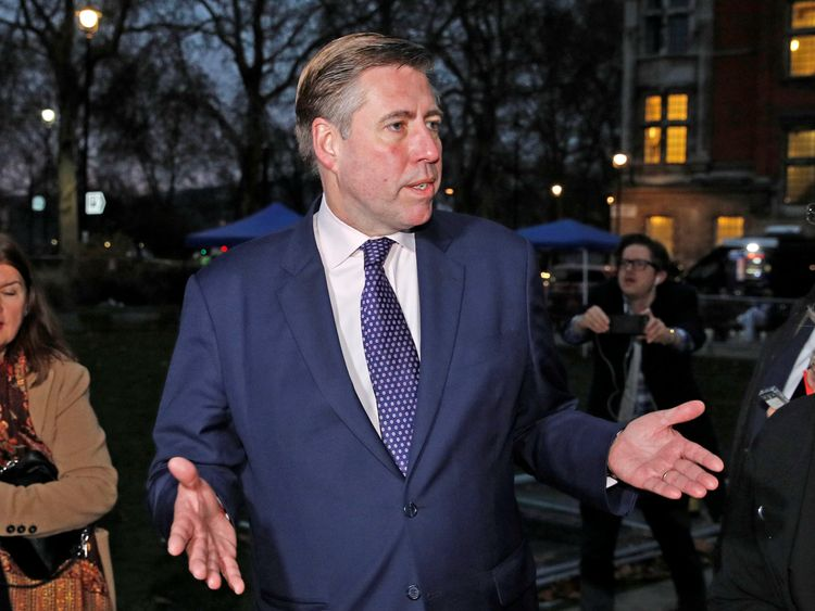 Graham Brady, Chairman of the Conservative Party 1922 Committee, speaks to the media after announcing that the Conservative Party will hold a vote of no confidence in the prime minister