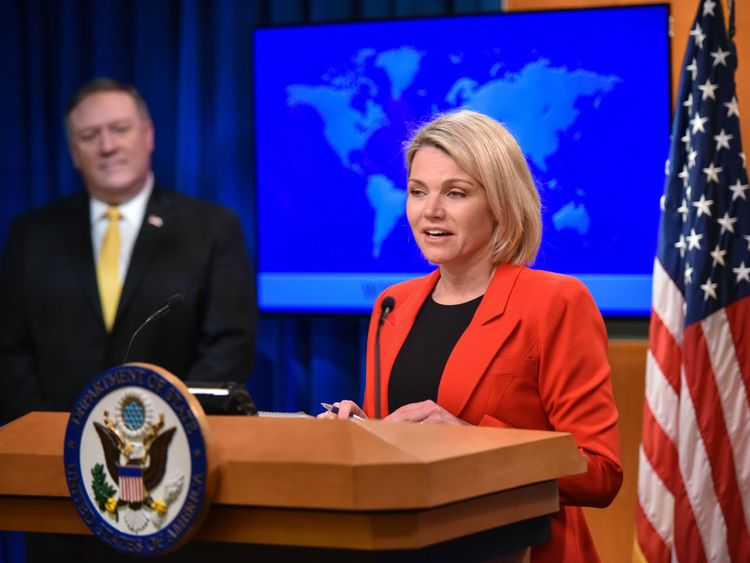 Heather Nauert introduces Secretary of State Mike Pompeo during  the official release of a report