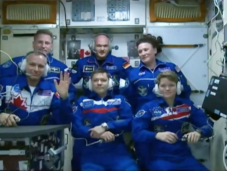 The three arriving members entered the ISS after spending eight hours in a tiny capsule