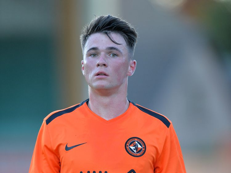 Jamie Robson of Dundee United in action during the pre-season friendly between Brechin City and Dundee United at Glebe Park on July 3, 2018 in Brechin, Scotland. (Photo by Mark Runnacles/Getty Images)